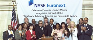 Sharon and President's Council ring closing bell at NYSE